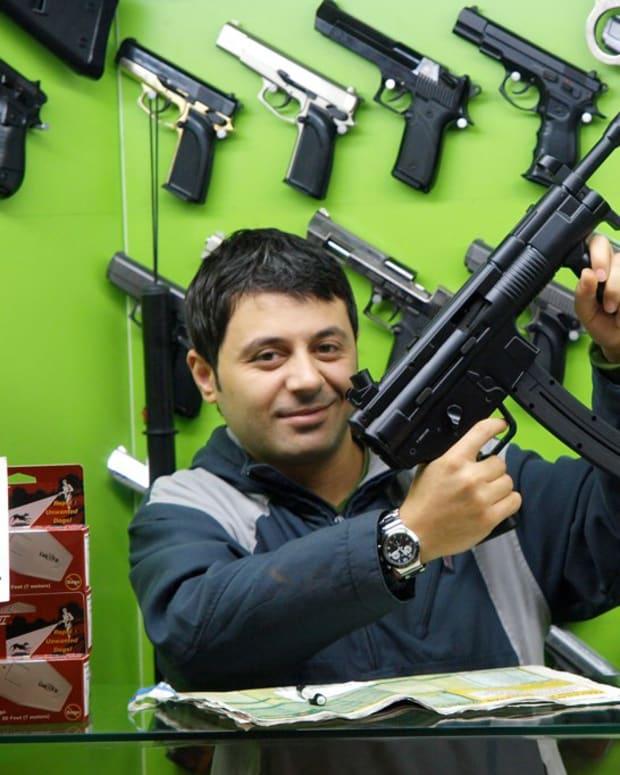 man in a gun store