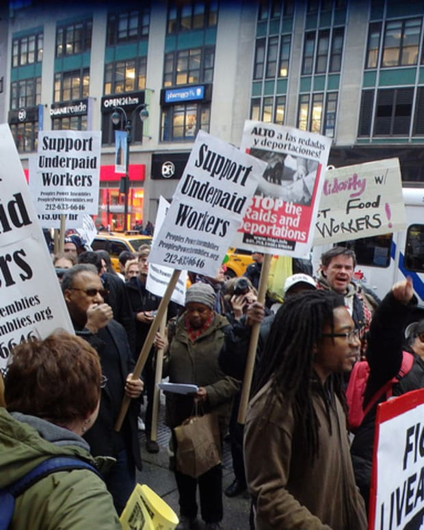 Protest In New York City For Raising The Minimum Wage
