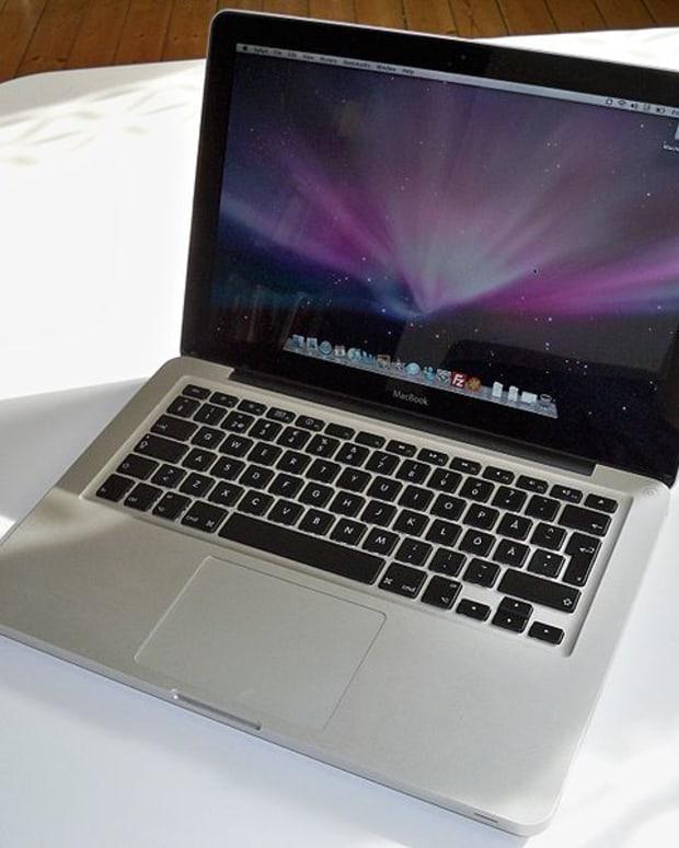 An Apple MacBook laptop.