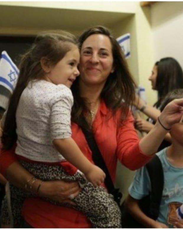 French Jewish immigrants arrive in Tel Aviv, Israel