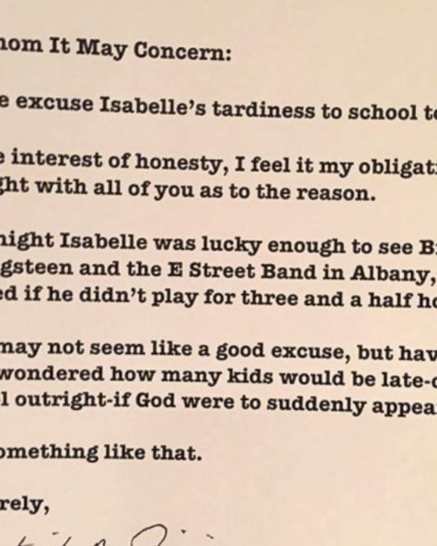 Springsteen excuse note