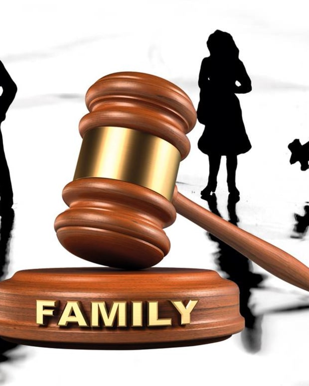 """family"" gavel with silhouettes in background"