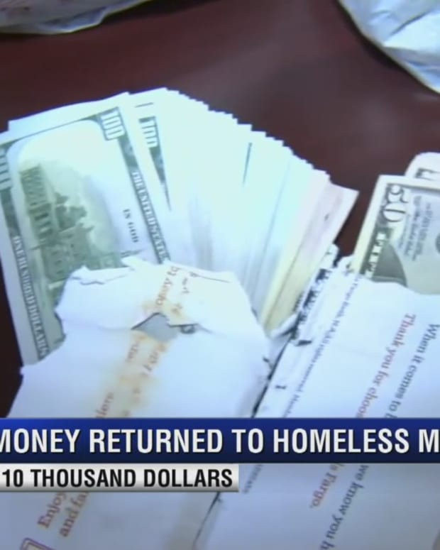 cash forgotten by a homeless man