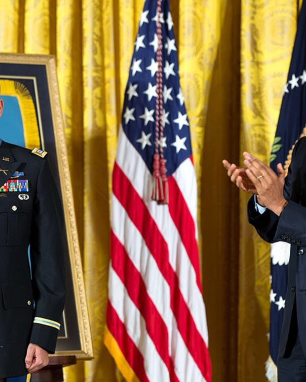 Capt. Florent A. Groberg and President Barack Obama Obama