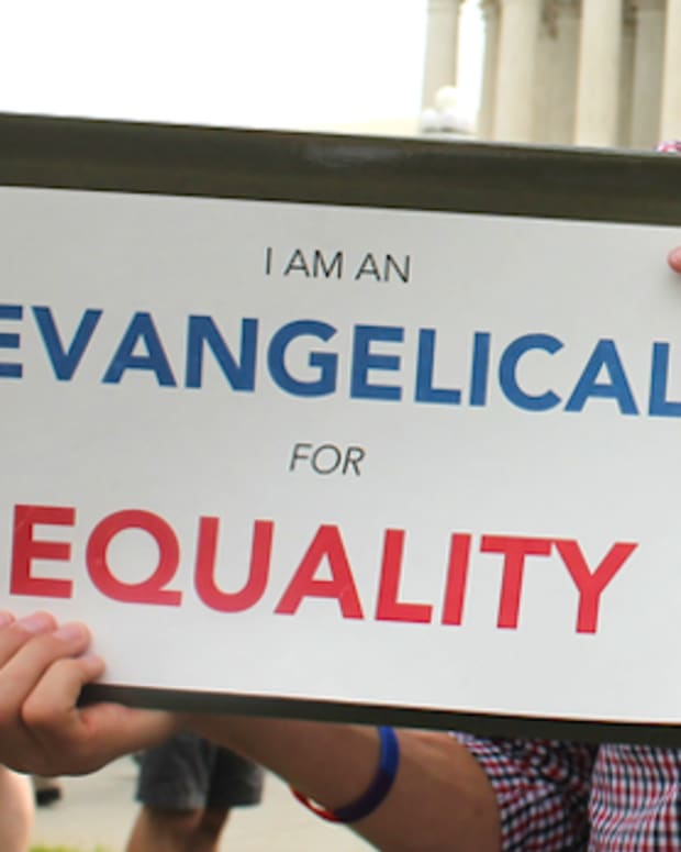 'I am an Evangelical for Equality' sign