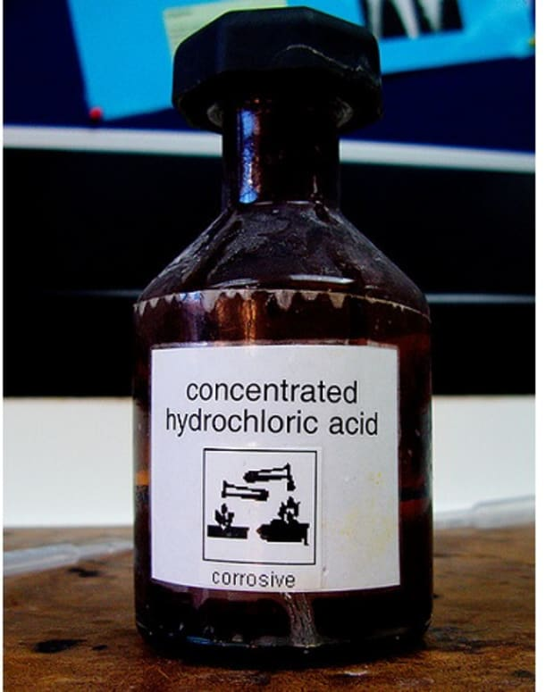 bottle of hydrochloric acid