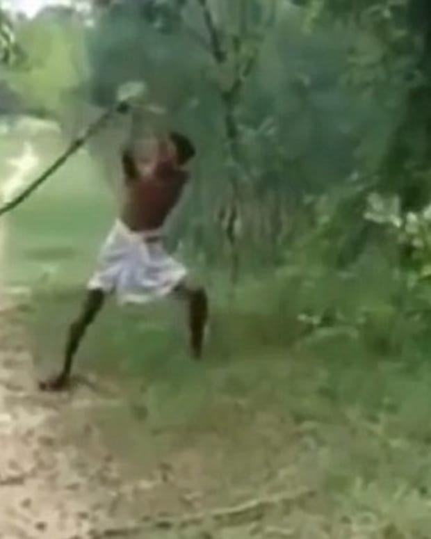 man beating snake to death