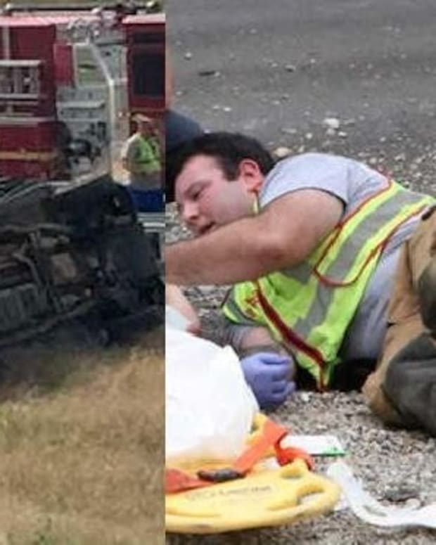 Photo Of What Fireman Was Doing At Scene Of Horrible Crash Quickly Goes Viral (Photos) Promo Image