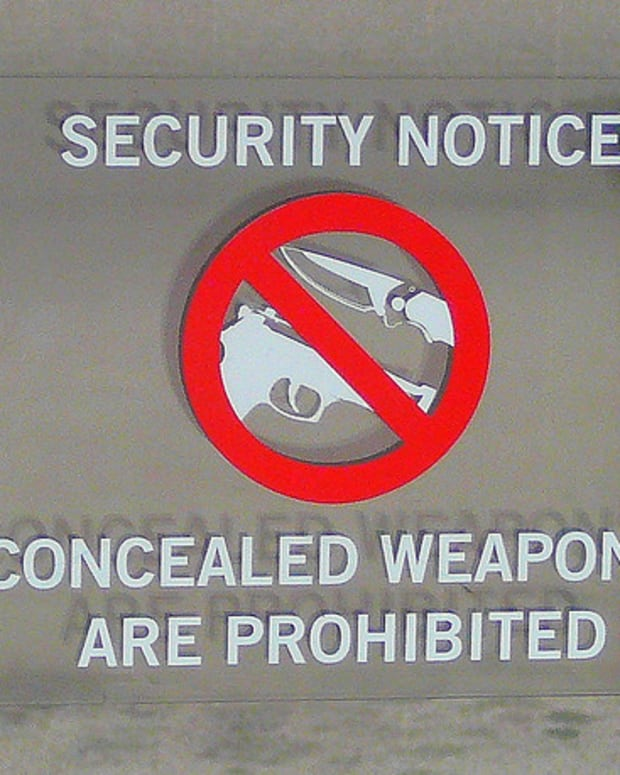 Concealed Weapons Not Allowed Sign.