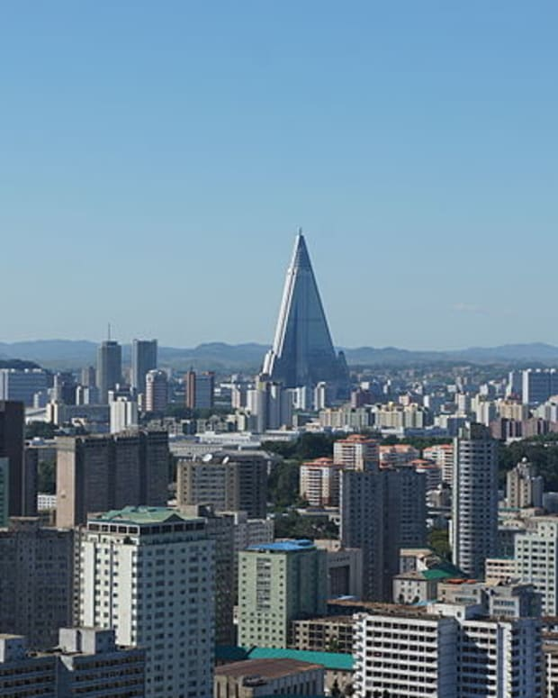 A view of the Pyongyang skyline.