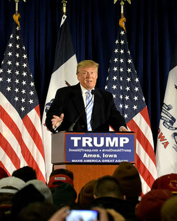 Republican presidential candidate Donald Trump speaks at a rally in Iowa