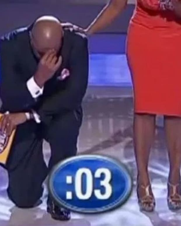 Steve Harvey Brought To His Knees By Contestant's Response (Video)  Promo Image