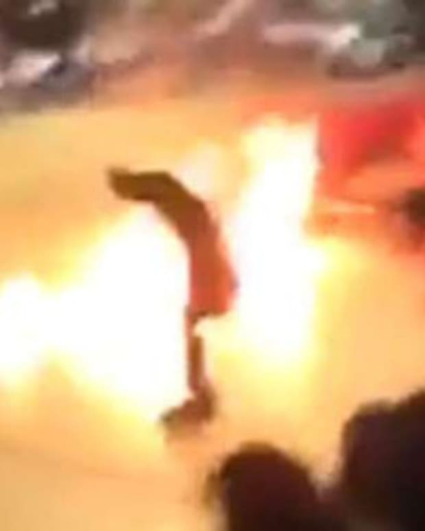 Stunt Man Suffers Burns At High School Pep Rally (Video) Promo Image