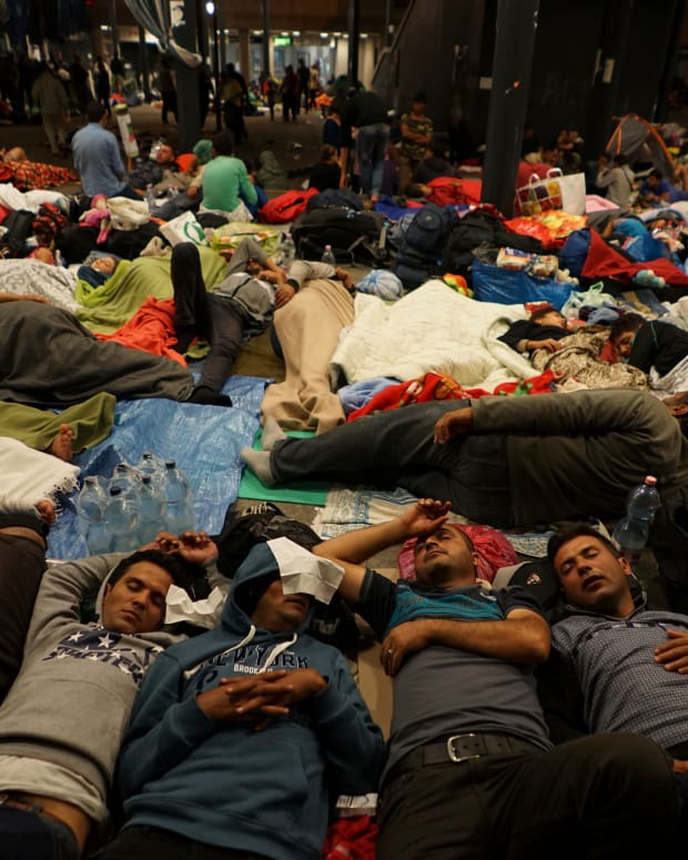 Syrian Refugees At Keleti Railway Station, Budapest, Hungary.