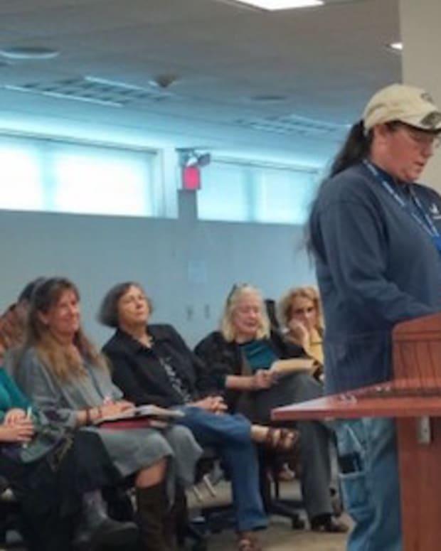 woman speaking at hearing