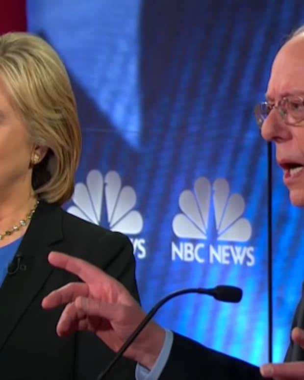Bernie Sanders and Hillary Clinton at the Democratic Debate
