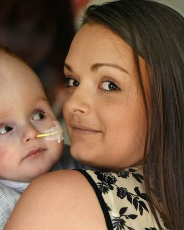 Emma Murray and her son, Aaron, who was born without a brain
