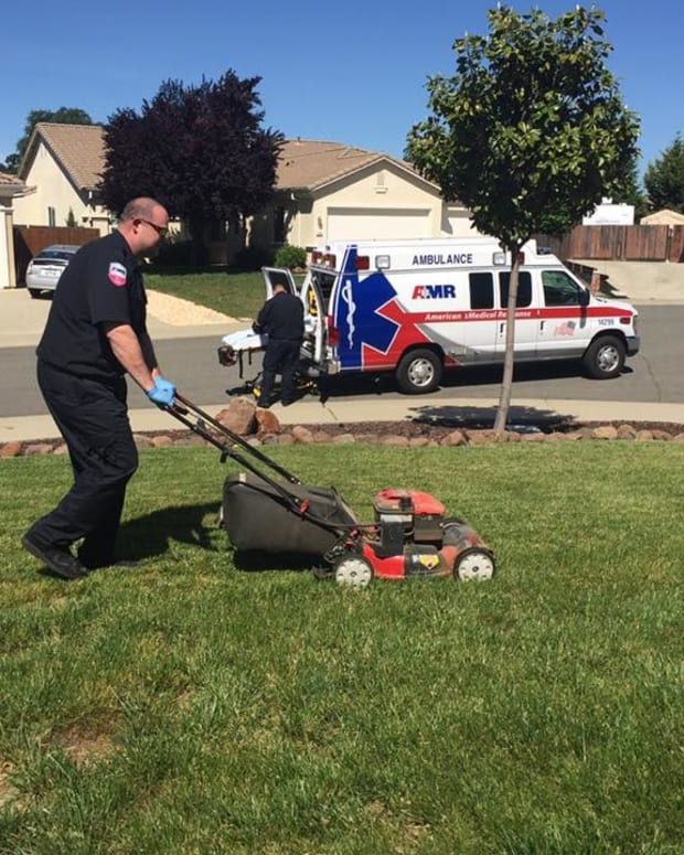 Man Faints, EMT Finishes Mowing His Lawn (Photo) Promo Image