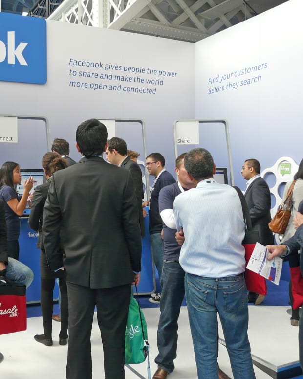 A Facebook booth at a 2010 tech convention in London