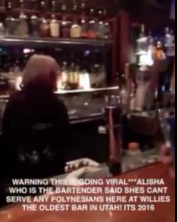 Screenshot, Frank Maea's Facebook video about being denied service at bar