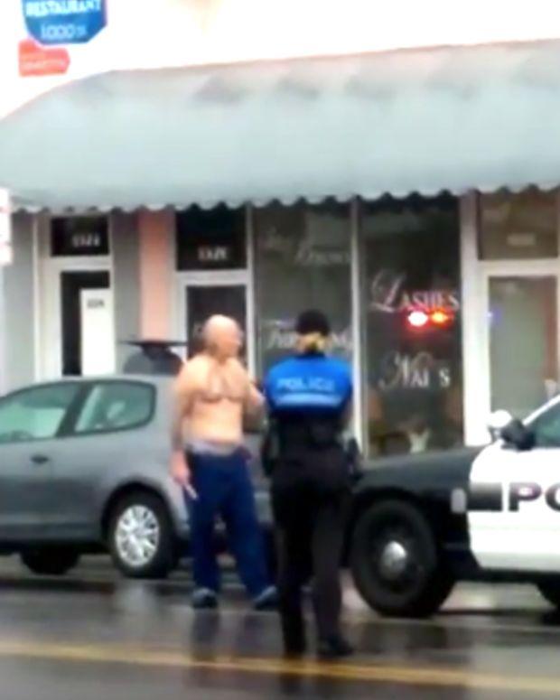 Miami Beach Police At Bank.