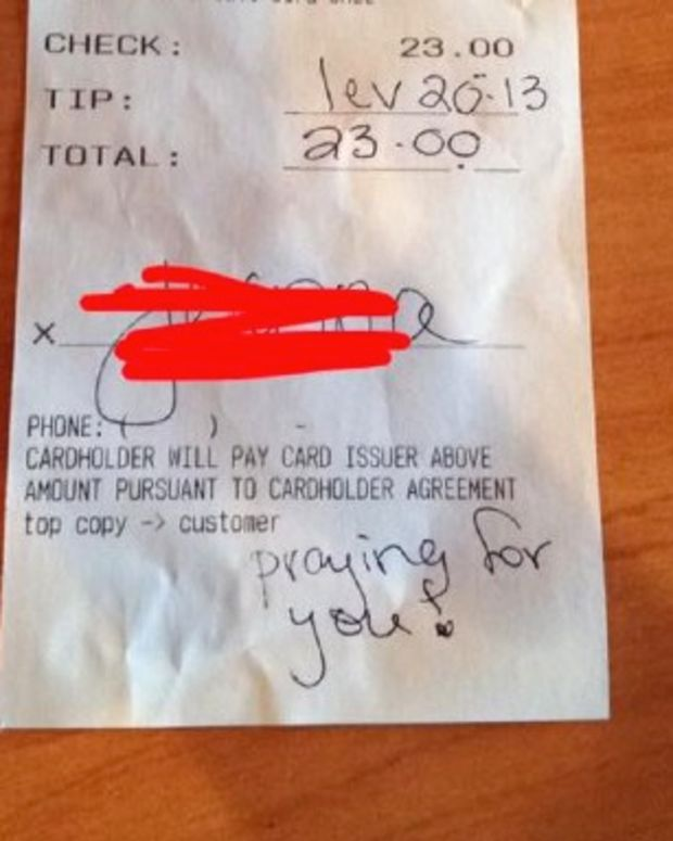 Gay Waitress Receives Anti-Gay Bible Verse As Tip Promo Image