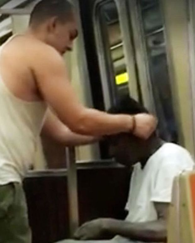 Jay giving homeless man the shirt off his back