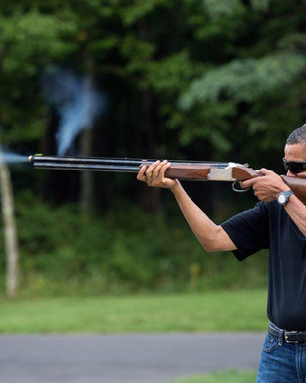 President Barack Obama Shooting Skeet.