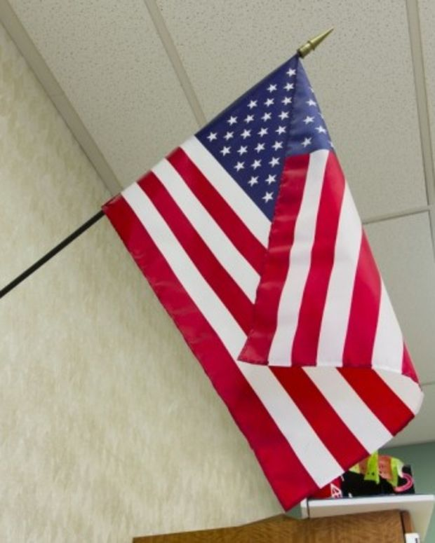 American flag in classroom
