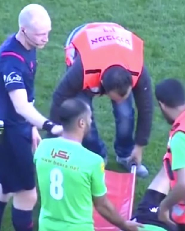 Medics Accidentally Drop Injured Soccer Player (Video) Promo Image