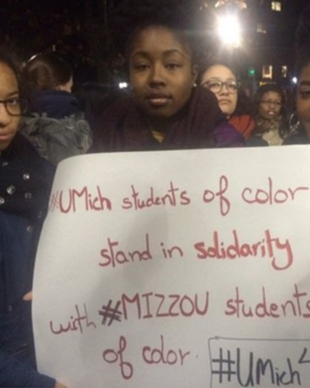 University of Michigan Protesters Support Mizzou Students.
