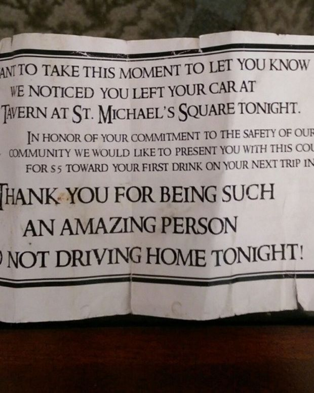 Tavern Rewards Customers For Not Driving While Drunk Promo Image