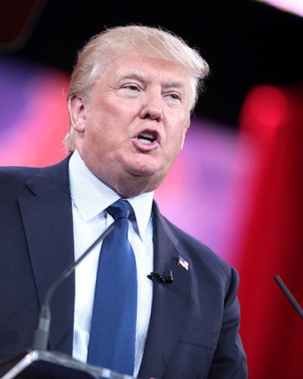 Donald Trump speaking at podium