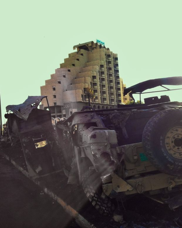 A humvee destroyed by an ISIS attack.