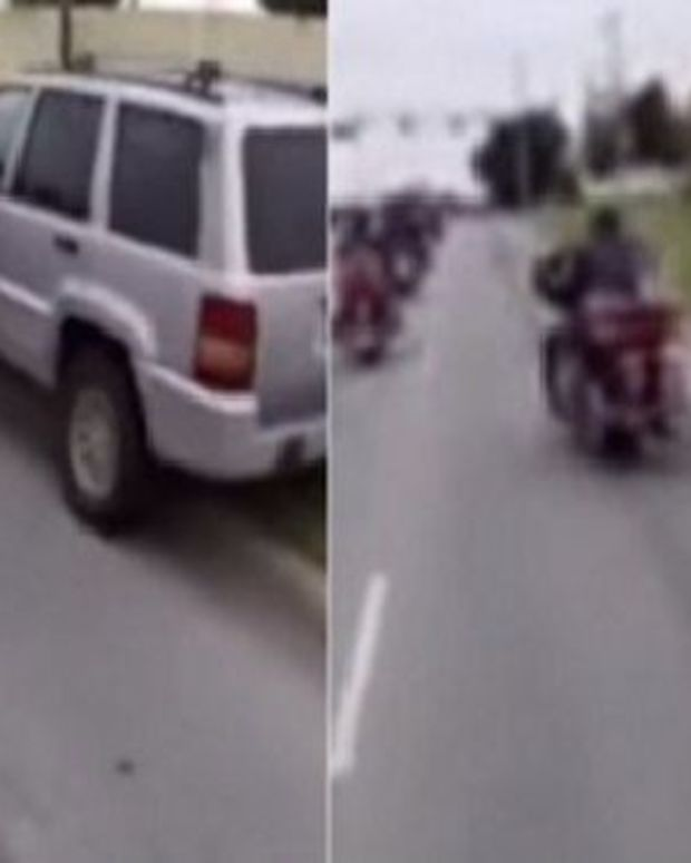 Driver Tries To Run Over Biker On Charity Ride, Pays The Price (Video) Promo Image