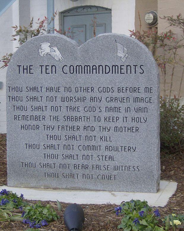 A Ten Commandments Monument