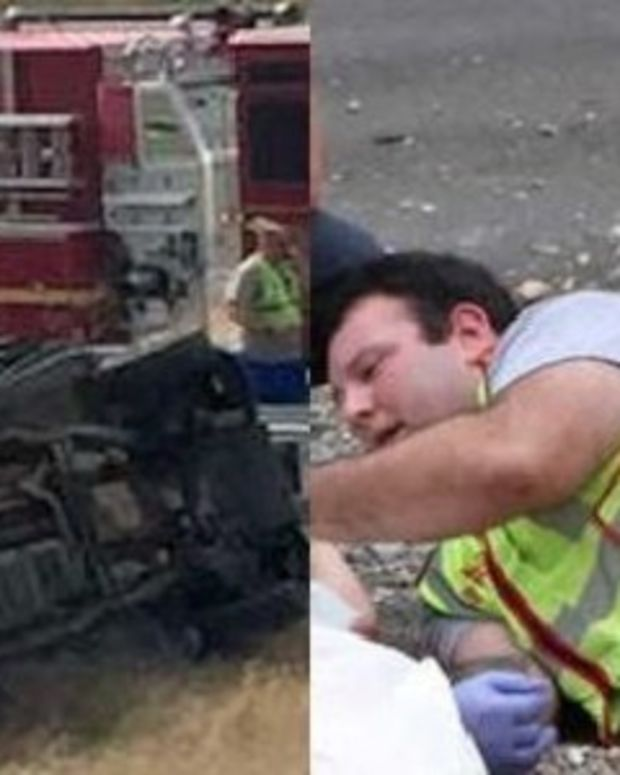 Picture Of What Fireman Was Doing At Scene Of Horrible Crash Quickly Goes Viral (Photos) Promo Image