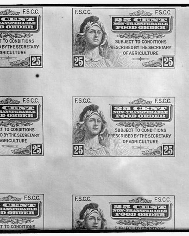 Food stamps, like the vintage stamps shown here, have been replaced with Electronic Benefit Transfer cards.