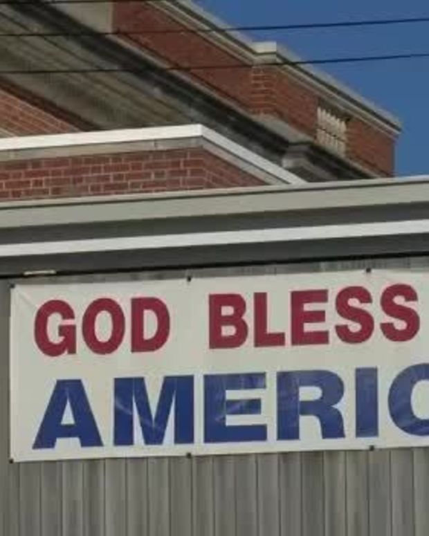 """God Bless America"" banner in Pittsburg, Kansas"