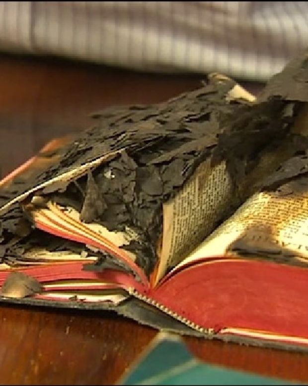 Keith Linder's burnt bible, reportedly caused by poltergeists