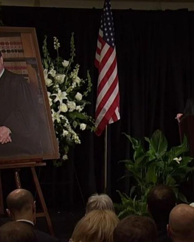 Justice Ginsburg Eulogizes Antonin Scalia (Video) Promo Image
