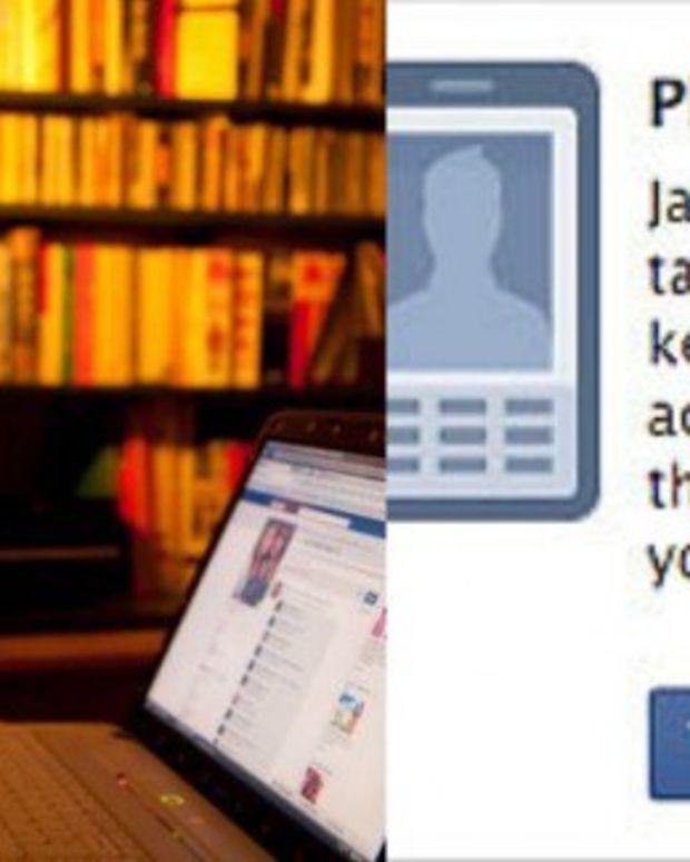 Left: girl on Facebook (stock photo); Right: Facebook warning