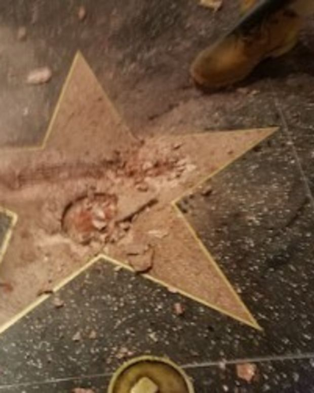 Trump's Hollywood Walk Of Fame Star Vandalized (Video) Promo Image