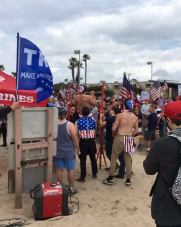 Violence Erupts At Pro-Trump Rally On California Beach (Video) Promo Image