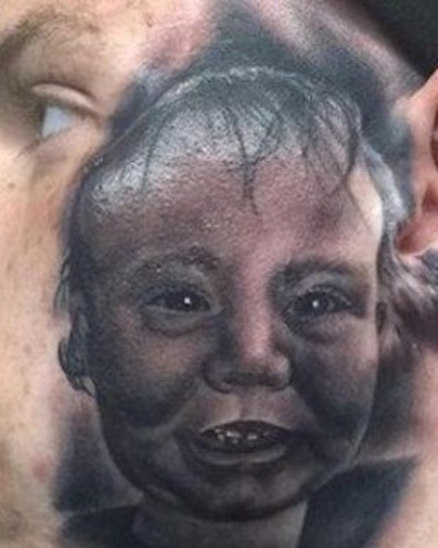 Father Gets His Newborn Son's Face Tattooed On His Own - And Then It Gets So Much Worse (Photos) Promo Image