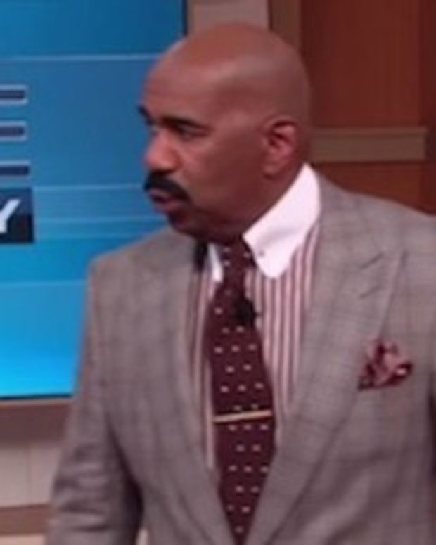 Steve Harvey Sees What Woman Is Wearing, Runs Off Stage (Video) Promo Image