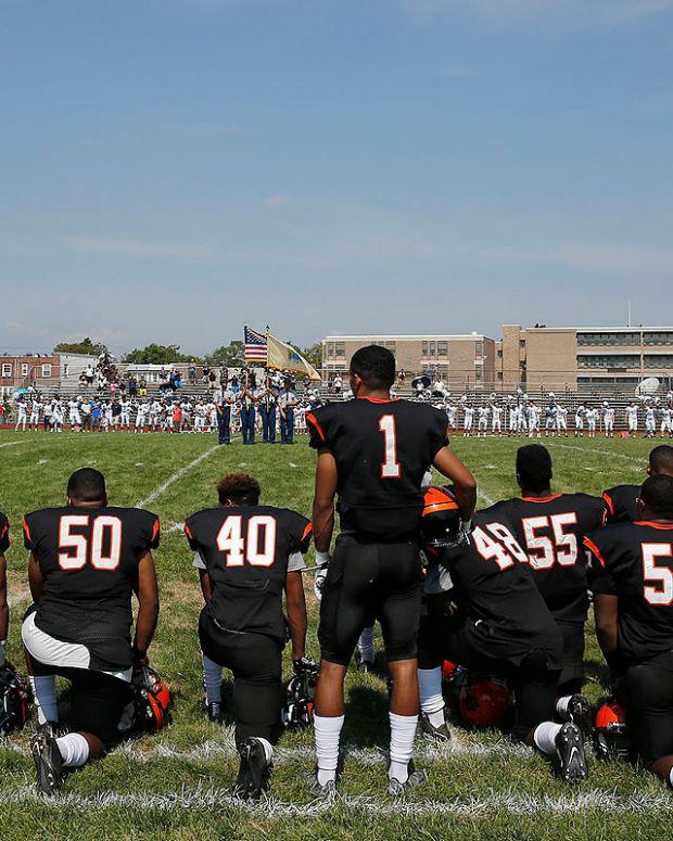 High School Football Team Kneels During National Anthem Promo Image