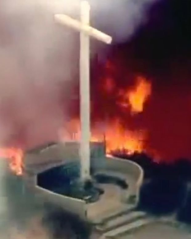 Outrage At TV News For Showing Cross In Wildfire (Video) Promo Image