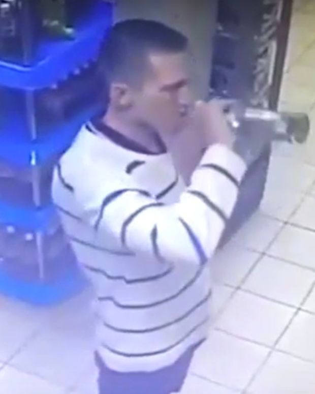 Report: Thief Drinks Bottle Of Vodka In Store (Video) Promo Image
