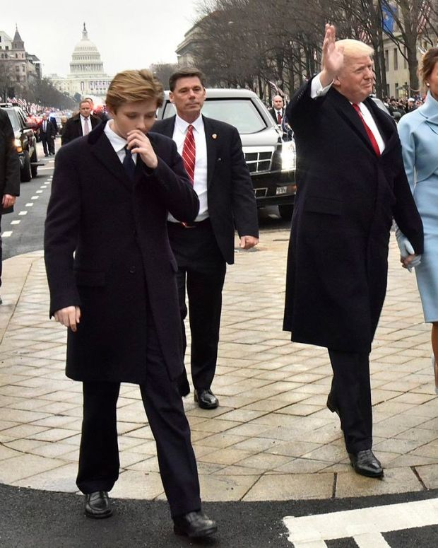 Barron Trump Wears Suit To Dinner With Parents (Photo) Promo Image